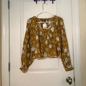 🆕Free People Mustard Floral Puff Sleeve Top